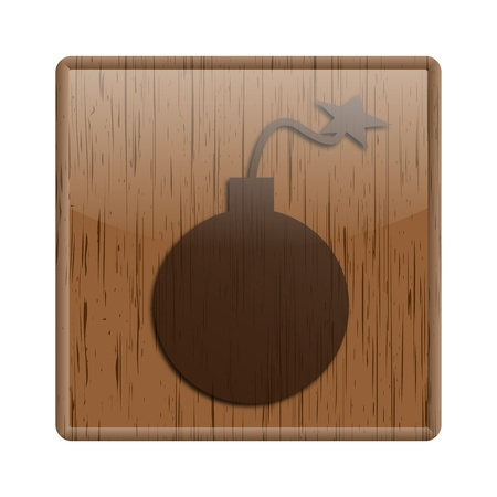 mines: Shiny icon with bomb design on wooden background