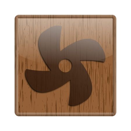 conditioned: Shiny icon with fan design on wooden background Stock Photo