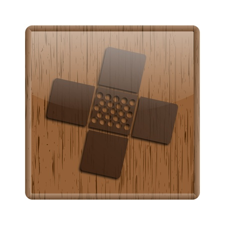 Shiny icon with patch design on wooden background Stock Photo - 20484646