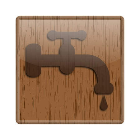 Shiny icon with faucet design on wooden background photo