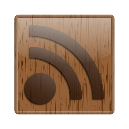 Shiny icon with rss feed design on wooden background Stock Photo - 20484645