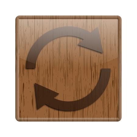 Shiny icon with reload design on wooden background photo