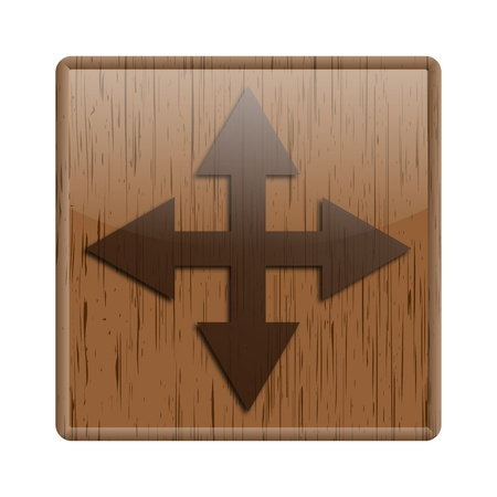 Shiny icon with maximize design on wooden background photo