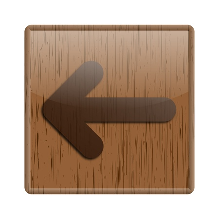 Shiny icon with arrow design on wooden background photo