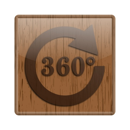 Shiny icon with 360 degree design on wooden background photo