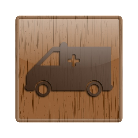 Shiny icon with brown design on wooden background Stock Photo - 20497006
