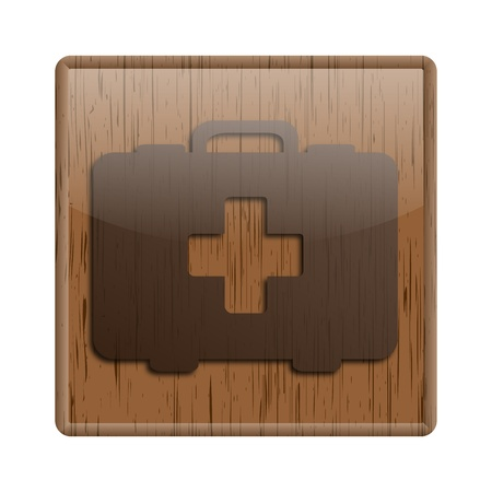 first aid kit key: Shiny icon with brown design on wooden background Stock Photo