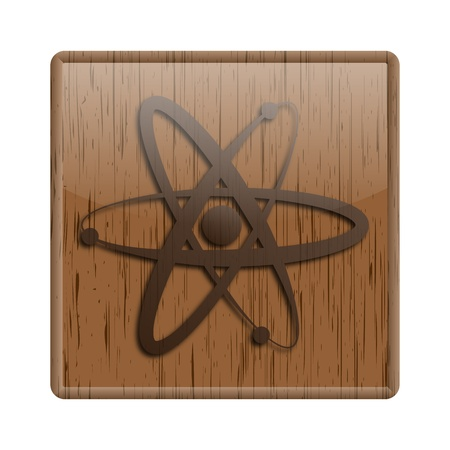 Shiny icon with brown design on wooden background Stock Photo - 20497261