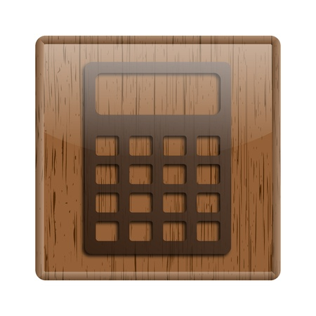 calculating: Shiny icon with brown design on wooden background Stock Photo