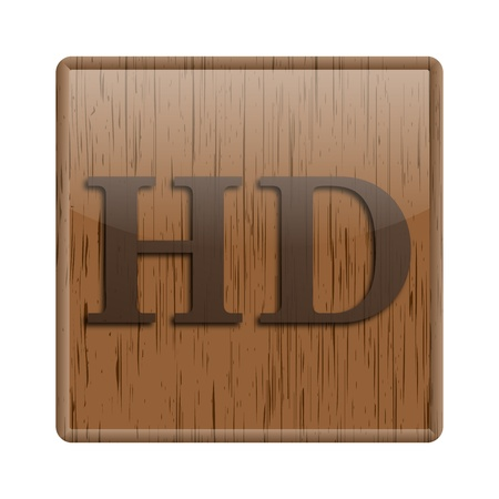 Shiny icon with brown design on wooden background Stock Photo - 20497072