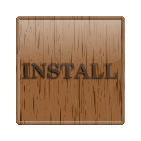 operative system: Shiny icon with brown design on wooden background Stock Photo