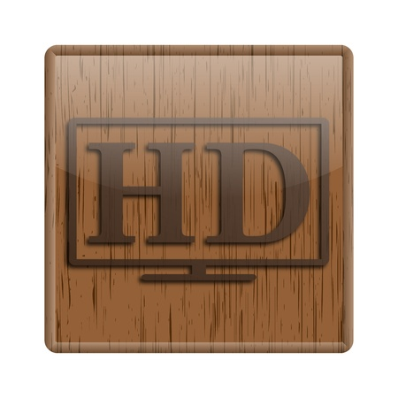 Shiny icon with brown design on wooden background Stock Photo - 20494260