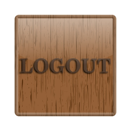 Shiny icon with brown design on wooden background photo
