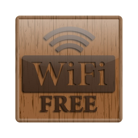 boardcast: Shiny icon with brown design on wooden background Stock Photo