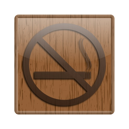 interdiction: Shiny icon with brown design on wooden background Stock Photo