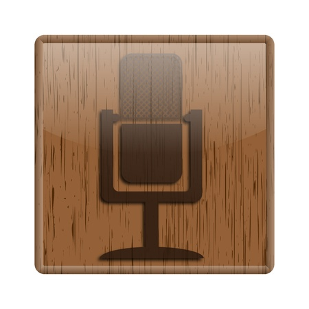 podcasting: Shiny icon with brown design on wooden background Stock Photo