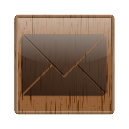 Shiny icon with brown design on wooden background Stock Photo - 20547427