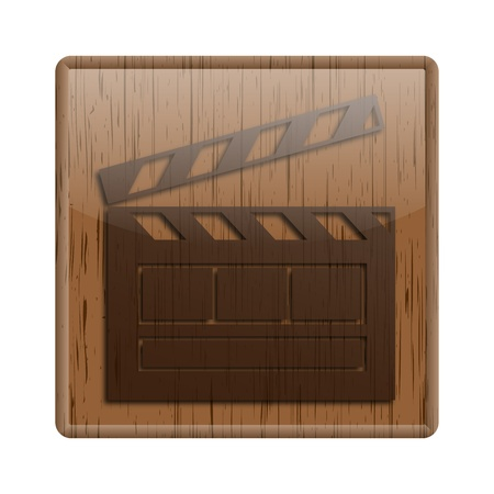 footage: Shiny icon with brown design on wooden background Stock Photo
