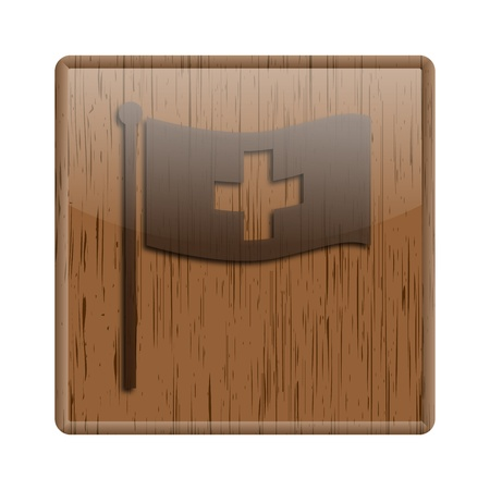 Shiny icon with brown design on wooden background Stock Photo - 20547654