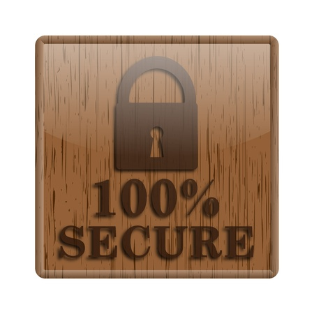trustworthy: Shiny icon with brown design on wooden background Stock Photo