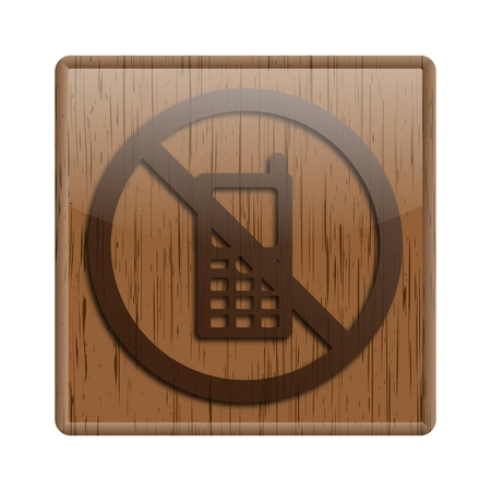no cell phone sign: Shiny icon with brown design on wooden background Stock Photo