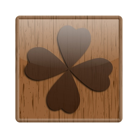 fourleaf: Shiny icon with brown design on wooden background Stock Photo