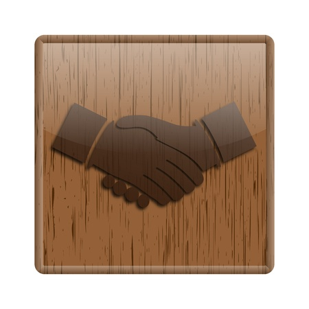 Shiny icon with brown design on wooden background Stock Photo - 20547668