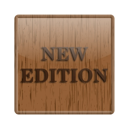 available: Shiny icon with brown design on wooden background Stock Photo