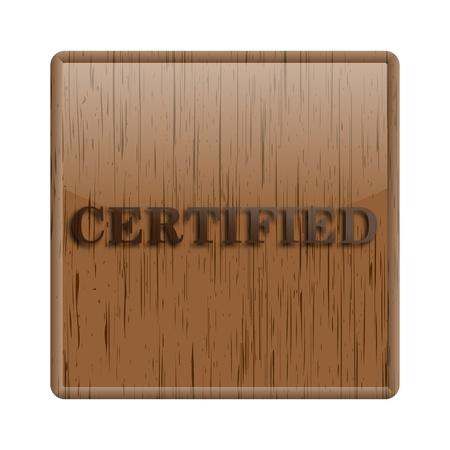 ratificaci�n: Icono brillante con dise�o marr�n sobre fondo de madera