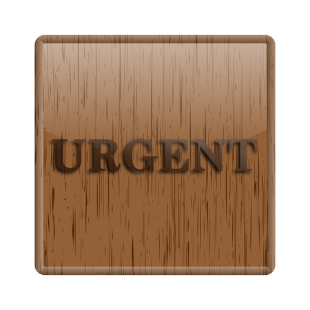 promptness: Shiny icon with brown design on wooden background Stock Photo