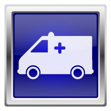 Metallic shiny icon with white design on blue background Stock Photo - 20608986