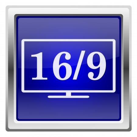 16 9 display: Metallic shiny icon with white design on blue background