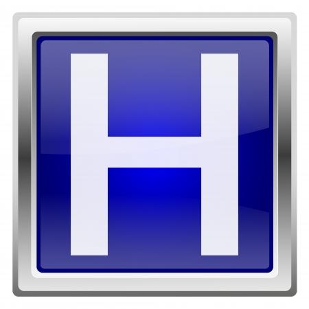 hobble: Metallic shiny icon with white design on blue background