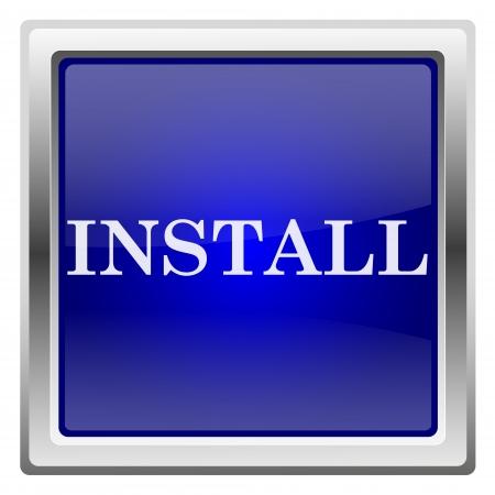 updating: Metallic shiny icon with white design on blue background
