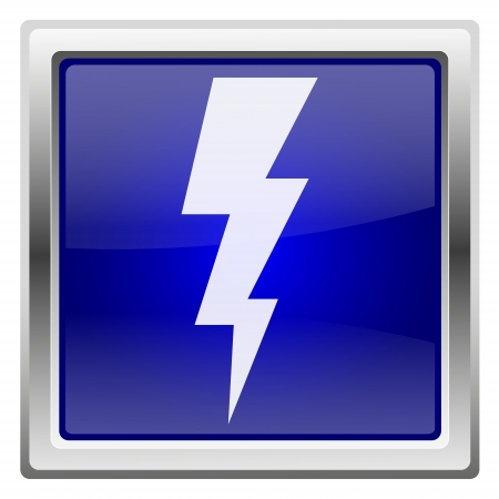 3d  bolt: Metallic shiny icon with white design on blue background