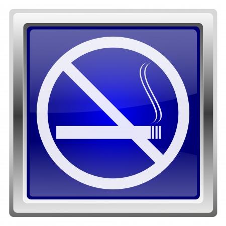 smoke alarm: Metallic shiny icon with white design on blue background