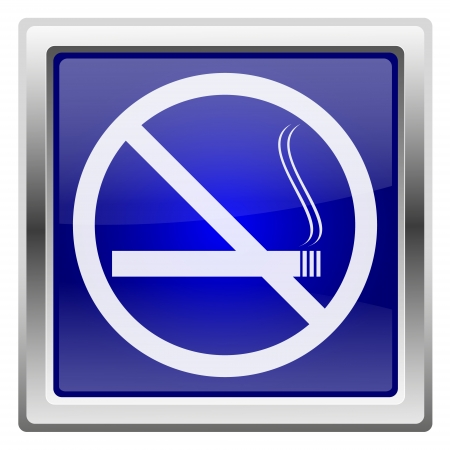 interdiction: Metallic shiny icon with white design on blue background