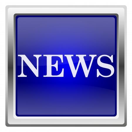 Metallic shiny icon with white design on blue background Stock Photo - 20636654