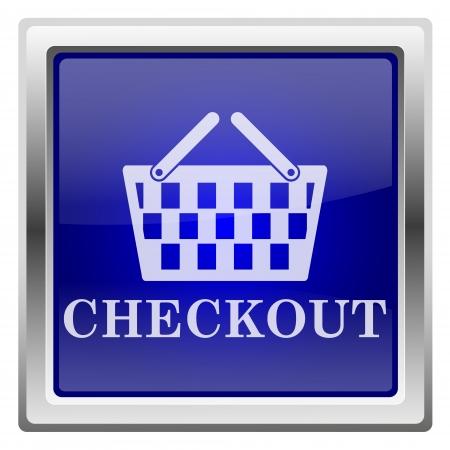 shopping carriage: Metallic shiny icon with white design on blue background