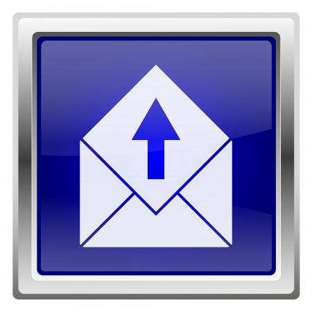 Metallic shiny icon with white design on blue background Stock Photo - 20636560