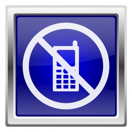 refrain: Metallic shiny icon with white design on blue background