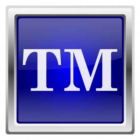 Metallic shiny icon with white design on blue background