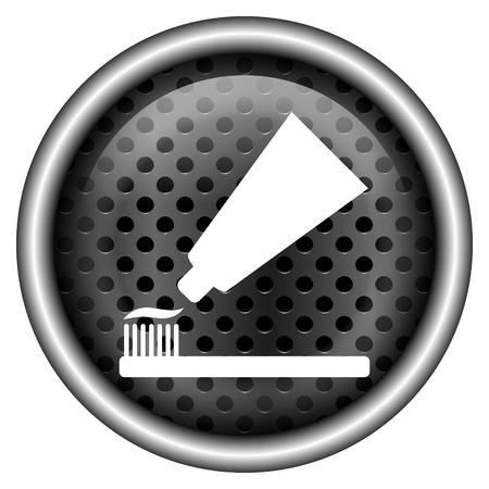 Glanzende pictogram met wit ontwerp op metalen achtergrond Stockfoto