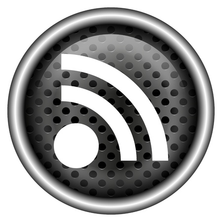 syndication: Glossy icon with white design on metallic background