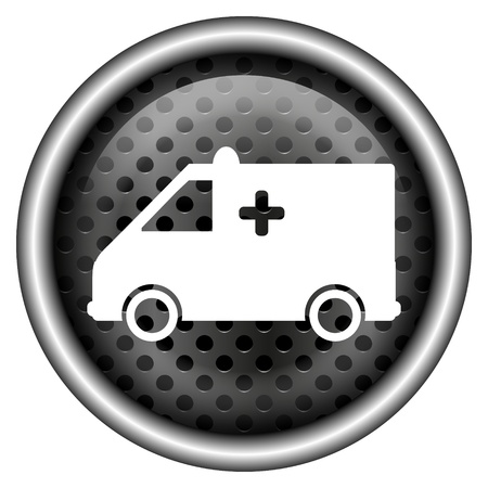 Glossy icon with white design on metallic background Stock Photo - 20700244