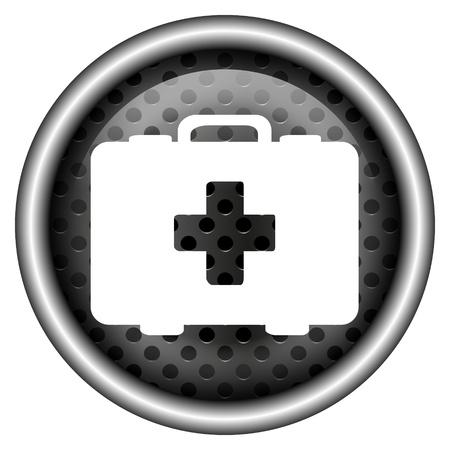 Glossy icon with white design on metallic background Stock Photo - 20700257