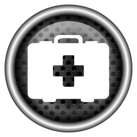 first aid kit key: Glossy icon with white design on metallic background