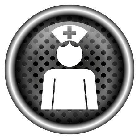 clinical staff: Glossy icon with white design on metallic background