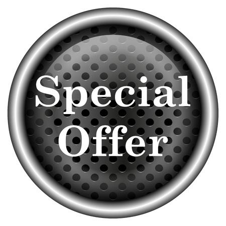 Glossy icon with white design on metallic background photo