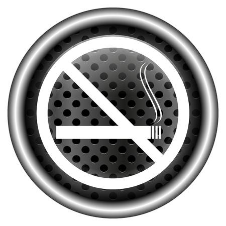 smoke alarm: Glossy icon with white design on metallic background